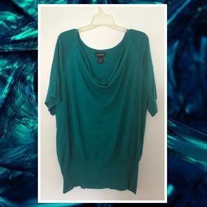LB Teal Cowl Neck Short Sleeve Sweater